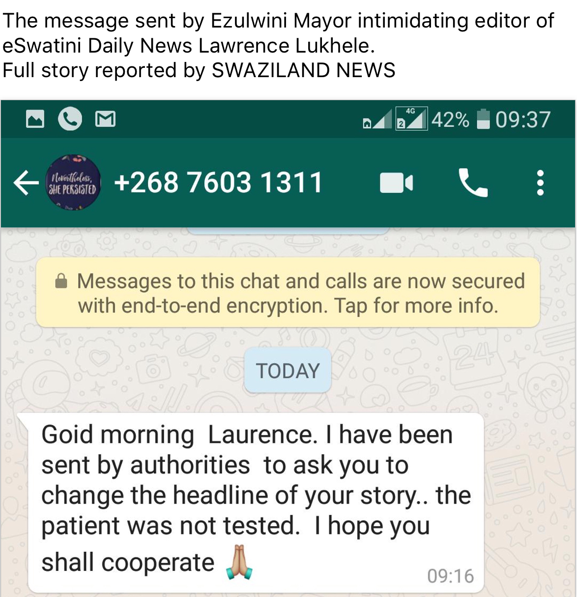 Labadzala send JC linked Mayor to intimidate editor for reporting 'coronavirus' death patient story