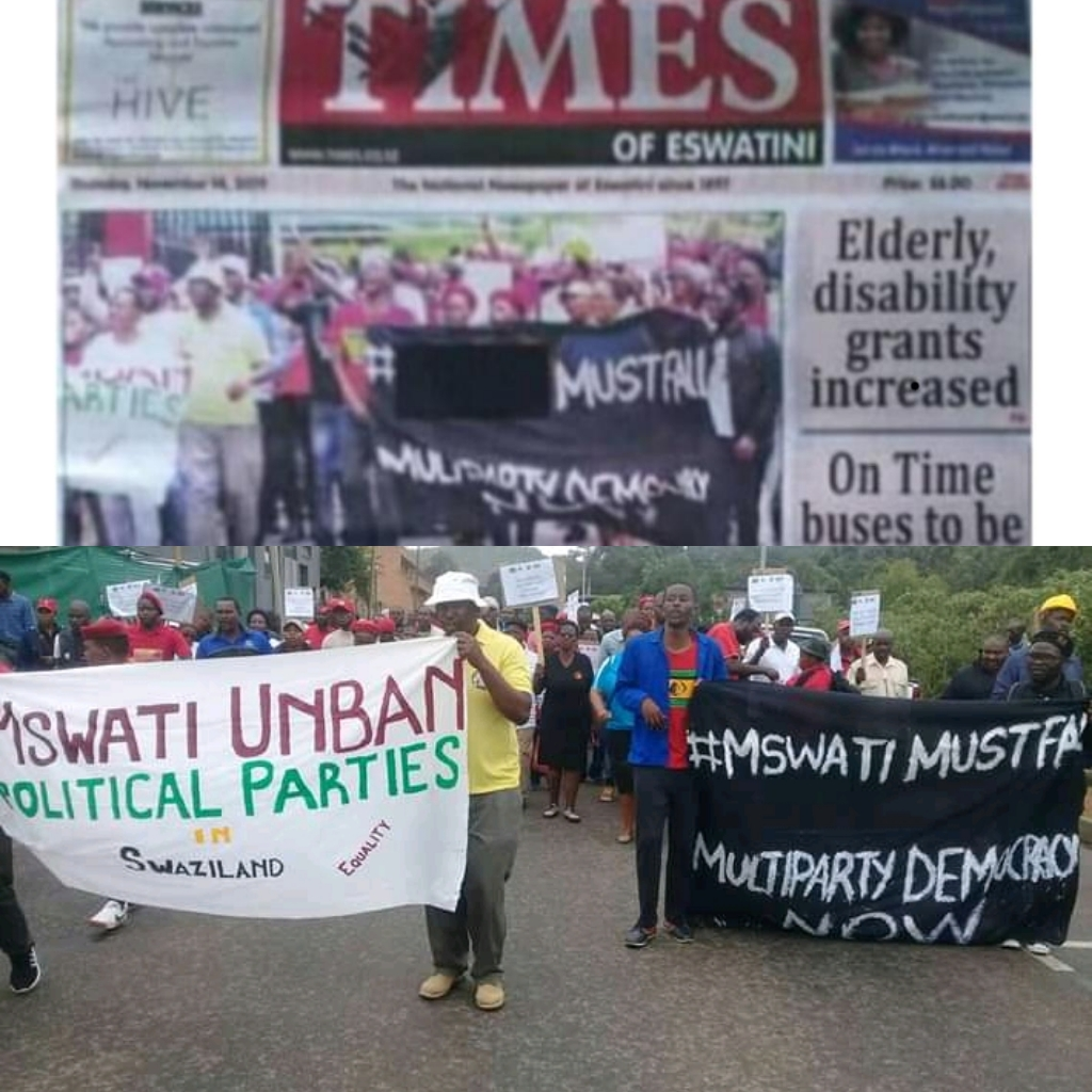 Times censors protesters' 'Mswati must fall' banner