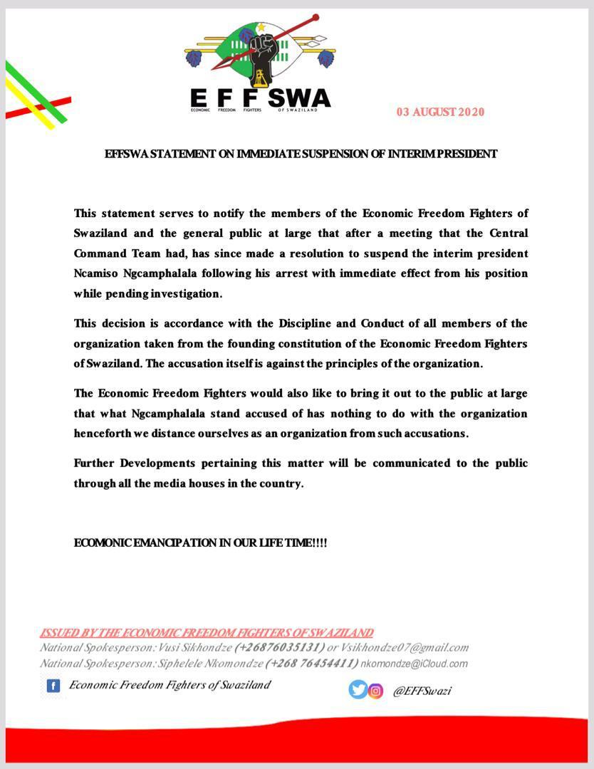 EFF Swaziland interim President suspended, political organization distances itself from criminal accusations.