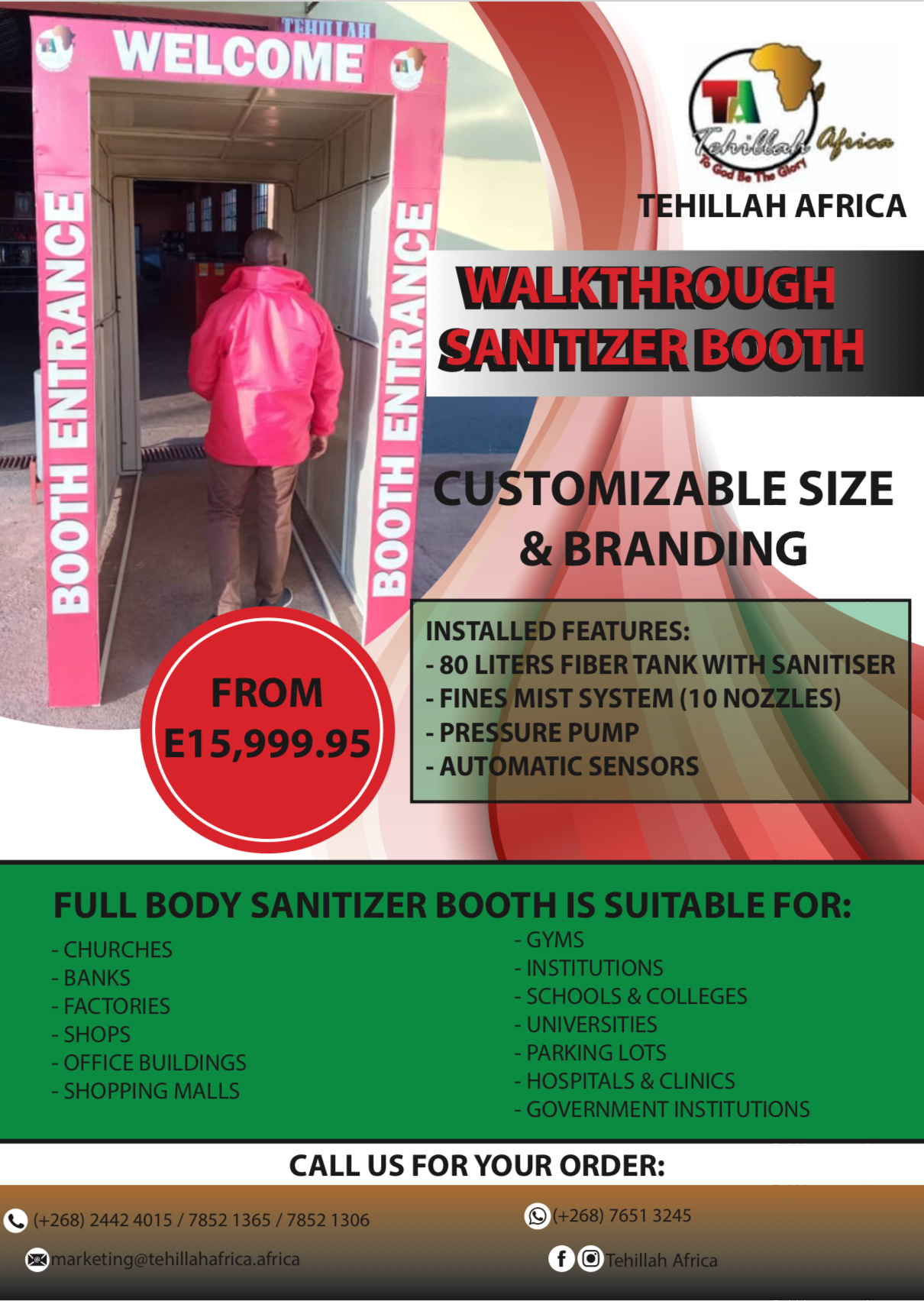 ADVERTORIAL: Tehillah Africa Eswatini introduces walkthrough sanitizer booth